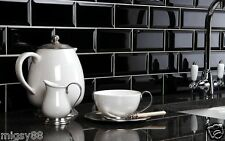 Wall Tiles -- Gloss Black Bevel Subway Tile 150x75mm Selling per Square Metre