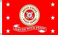 Us Coast Guard Served With Pride Flag 3x5 ft Uscg Retired Veteran Vet Red Seal