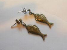 * Beautiful pair of vintage dangle silverplated mexican fish earrings * L@K!