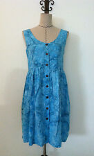 World Apart womens dress sz S casual blue sleeveless knee high button up v neck
