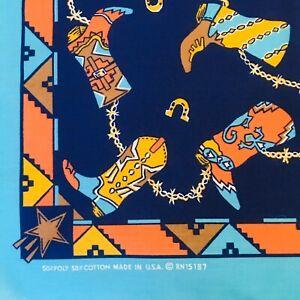 New Vintage Hav A Hank Cowboy Boot Bandana Western Horseshoes Blue Turquoise