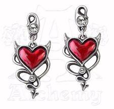 Alchemy Gothic  Devil Heart Stud Drop Earrings Pewter Red Enamel Crystal