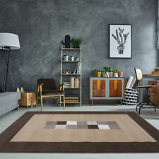 Chocolate Brown Cream Modern Quality Rug Small Large Geometric Living Room Rugs