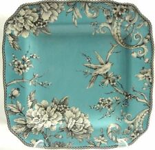 222 Fifth Adelaide Turquoise Dinner Plate Set of 4 Square, New