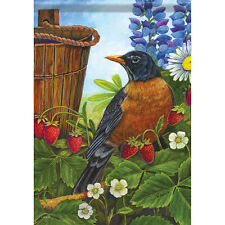 """New listing Strawberry Patch House Flag 28"""" x 40"""" Double sided Flag by Carson"""
