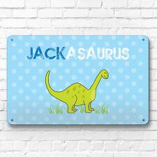 Personalizzata Dinosauro metallo segno A4 Metal Kids Room Porta Firmare Wall Art