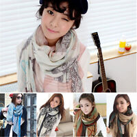Women Fashion Pretty Scarf Long Soft Satin Printing Wrap Shawl Stole Scarves