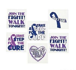 72 Tattoos RELAY FOR LIFE Cancer Awareness Purple Ribbon Temporary Tattoos