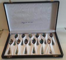 Cucchiaini argento 800 d'epoca marchiati e punzonati 12 pezzi con custodia vedi.