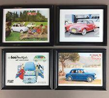 FIAT 4 Framed Italian vintage Prints Auto Transportation Fiat 500 600 1100 #L001