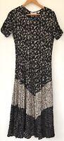 Vtg 90s Rayon Crinkle Floral Midi Dress Ditsy Black Cottagecore Prairie Grunge M