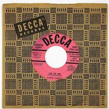 JANE TURZY Lie To Me/My Sweet French Baby 7IN 1954 JAZZ VOCAL POPCORN NM-
