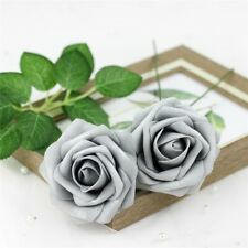 5 Foam Rose Artificial Fake Flower Party Wedding Bride Bouquet Home Decor Silver