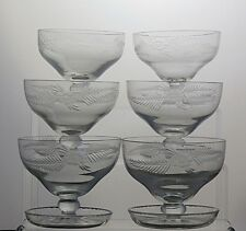 Etched Flower Crystal Dessert Dishes Ice Cream Serving Footed Bowls Set Of 6