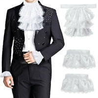 2Set Victorian Detachable Jabot Collar&Cuff Lace Layered Pirate Colonial Costume