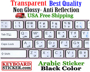Arabic Keyboard Sticker Transparent black letters best quality! printed in Korea