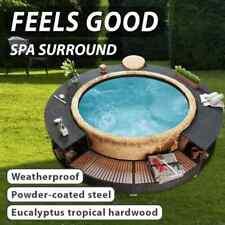 vidaXL Spa Surround Black Poly Rattan Modern Outdoor Garden Hot Tropical Tub
