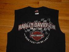 Vtg Harley Davidson Racing Sleeveless Shirt Black Lake Of Ozarks MO  M Sharp!