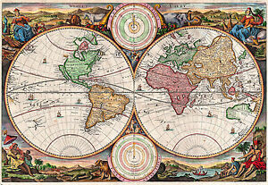 Antique World Map, Old Vintage Map, 1730, Fade Resistant HD Print or Canvas