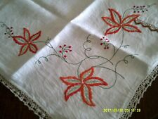 VINTAGE CREAM  LINEN TABLECLOTH  HAND EMBROIDERY AND CROCHET  112X112CM  $65