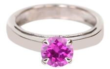 Round Shape 14KT White Gold Natural Pink Tourmaline 1.50 Carat Solitaire Ring