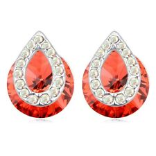 GORGEOUS 18K WHITE GOLD PLATED GENUINE CUBIC ZIRCONIA RUBY RED STUD  EARRINGS
