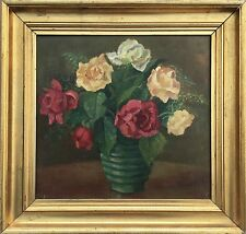 MONOGRAMMIST - ROSEN STILLLEBEN - STIL LIFE WITH ROSES - THIRTIES ART 40 X 42 CM