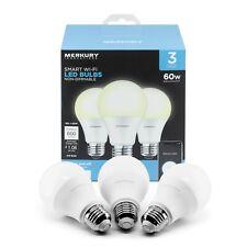 (3 pack) Merkury Innovations Smart Wifi App Controlled Led Light Bulbs NEW