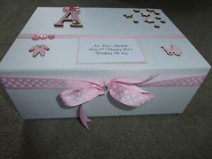 Personalised memory Box New Baby Keepsake Box pink blue boy girl Baby Shower**