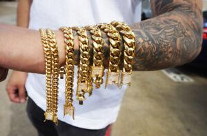 14k 6/8/10/12/14/16/18mm cuban link bracelet with CZ stainless steel