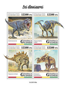 Guinea Dinosaurs Stamps 2020 MNH Prehistoric Animals T-Rex Stegosaurus 4v M/S
