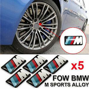 5PCS BMW M Sport Wheel Alloy Badge 3D Emblem Sticker Wheel Decal - 17mm x 9mm