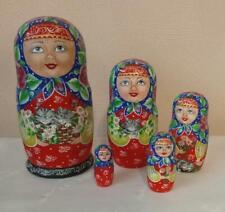 Russian Nesting Dolls Beautiful Girl with Cats! 5 pcs! Matte finish! Signed