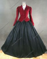 Victorian Edwardian Velvet Jacket 3PC Dress Gown Vampire Halloween Costume 166