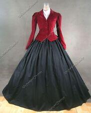 Victorian Edwardian Burgundy Velvet Jacket 3Pc Dress Set Reenactment Gown 166