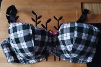 Ladies Check Tartan Black, White & Pink Underwired Bra, 40DD