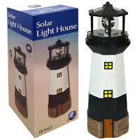 LARGE SOLAR POWERED LIGHTHOUSE ROTATING LED BULB GARDEN ORNAMENT PATIO NEW LIGHT