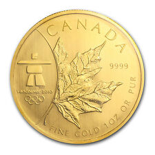 2008 Canada 1 oz Gold Maple Leaf BU (Vancouver Olympics) - SKU #56895