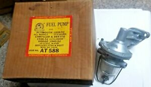 NOS 1939-52 PLYMOUTH DODGE CHRYSLER DESOTO FUEL PUMP  AT 588 NEW IN BOX  6 CYL