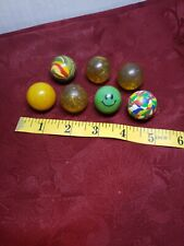 VINTAGE COLLECTIBLE RUBBER BALLS  1IN LOT OF 7 SWIRL SPARKLE SMILEY BTO10