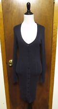 Wolford Blue Cotton Silk Ribbed Perforated Knit Cardigan Dress Sz XS