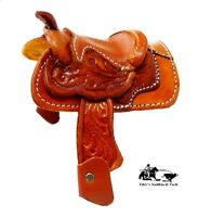 """Mini Decorative Saddle 2"""" Seat Western Novelty by Mexico Leather Factory New"""