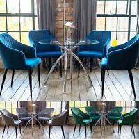 Cecelia Luxury Dining Table Set with a Choice of Shell Dining Chairs Round Glass