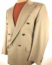 Chiavari Men's Double-Breasted Sport Coat 42 R Beige/Khaki Suit Jacket Italy 368