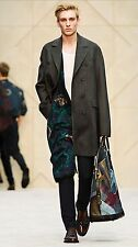 $2,495 Burberry Prorsum 36 46 Wool MicroTweed Chesterfield Trench Coat Men NWT