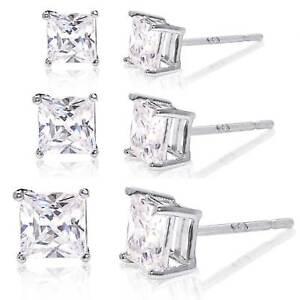 Set of 3 Cubic Zirconia Stud Earrings Rhodium Plated - 3mm, 4mm, 5mm
