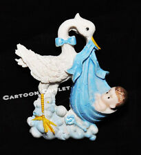 12 PCS RECUERDOS DE BABY SHOWER BLUE STORK MAGNETS RESIN PARTY FAVORS BOY GIFTS