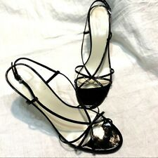 Nine West Black Patent Strappy Stiletto Heel Sandals size 11