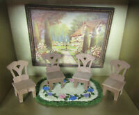 Antique Dollhouse Chair Lot Dining Room Table Furniture 1800s-1900s Victorian
