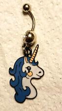 Navel Ring 14G Surgical Steel Unicorn Blue mane Belly Ring